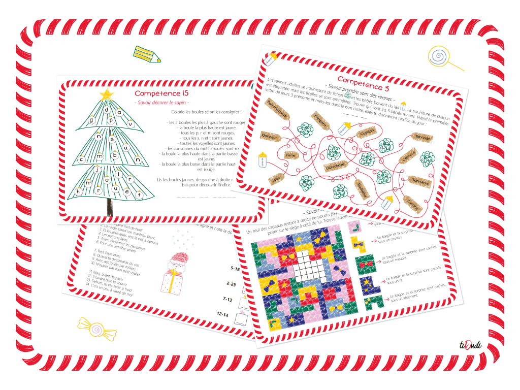 Calendrier de l'Avent à énigmes pour enfant Qui veut remplacer le Père Noël tiDudi