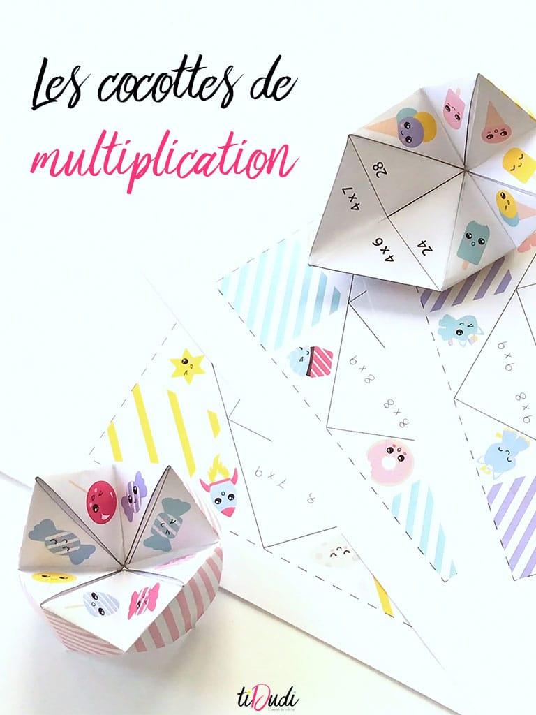 cocotte de multiplication, jeu pour apprendre en s'amusant les tables de multiplication, par tiDudi