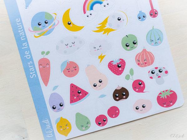 Stickers Kawaii : fruits, légume, météo et espace. tiDudi